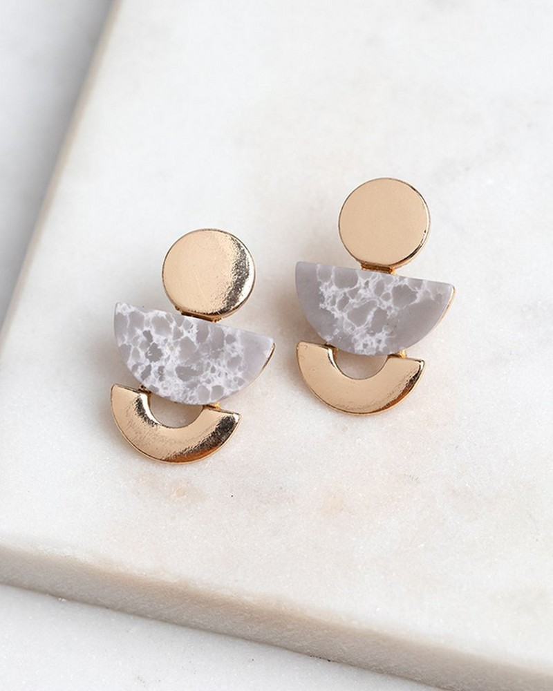 Geo Stone Stud Earrings -  gold-grey