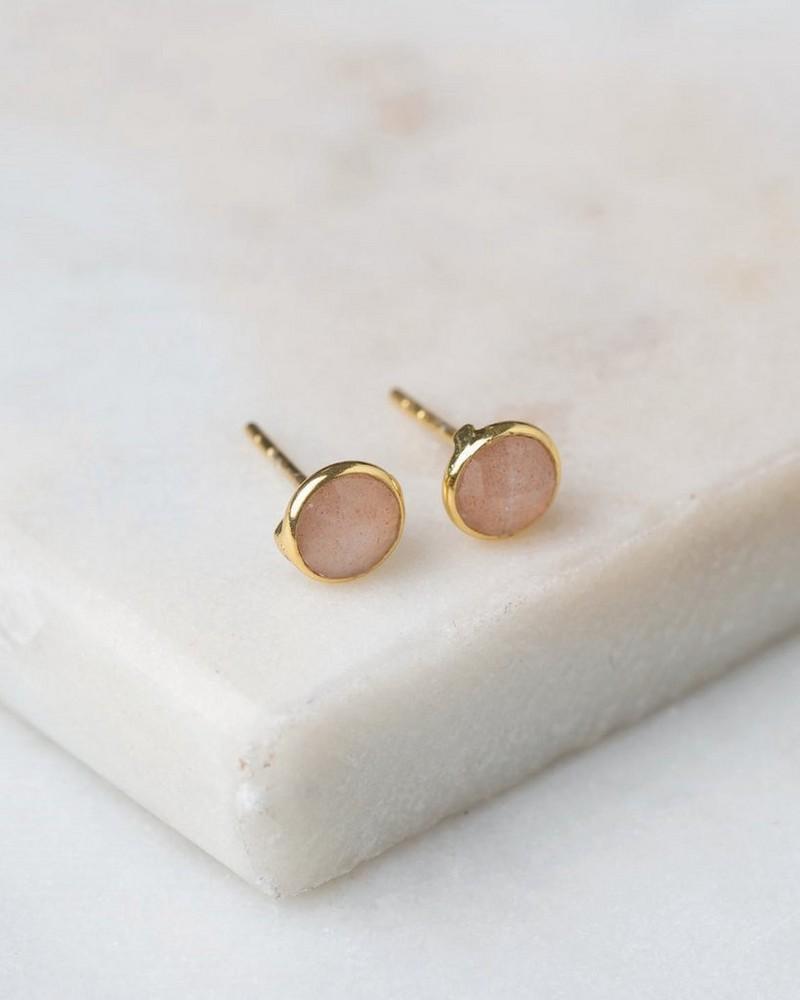 Peach Moonstone & Gold Stud Earrings -  gold-peach