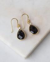 Black Rutile & Gold Teardrop Earrings -  gold-black
