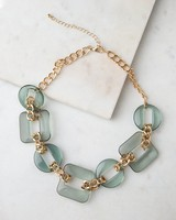 Resin & Chain Link Necklace -  teal