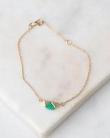 Emerald & Gold Halfmoon Bracelet -  emerald-green