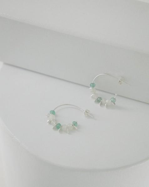 Aqua Chalcedony & Sterling Silver Beaded Hoop Earrings -  green