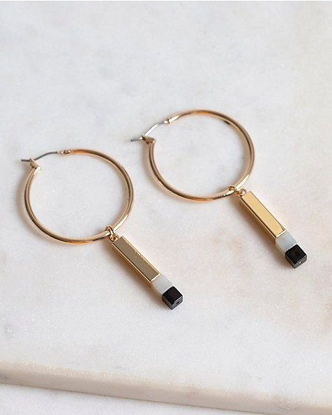 Hoop with Removable Linear Stone Drops -  gold-green