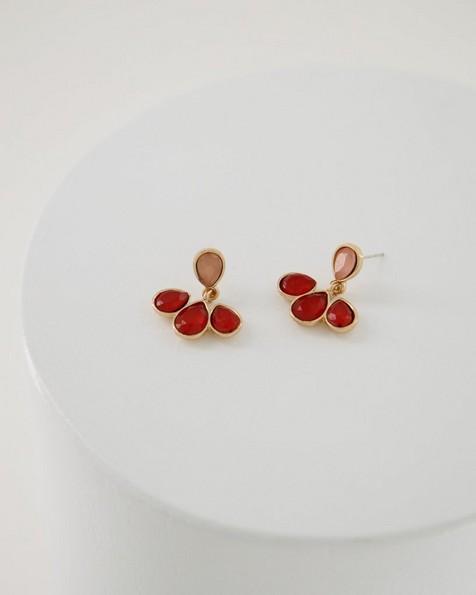 Stone Drop Fan Earrings -  gold-pink