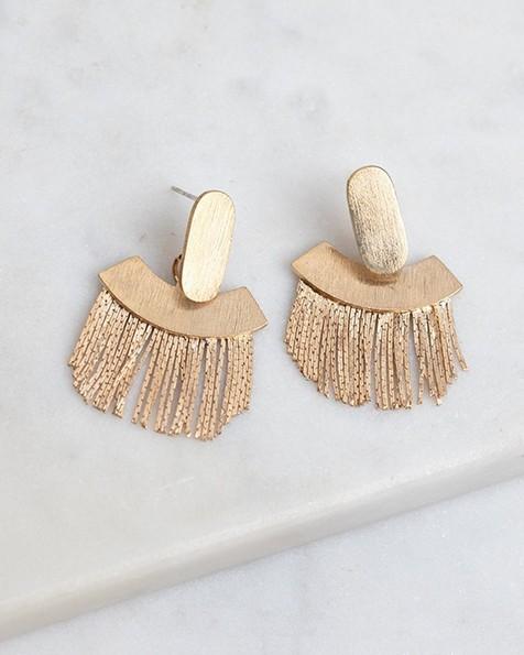 Fringed Fan Earrings -  gold