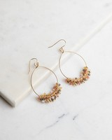 Beaded Cluster Hoop Earrings -  gold-assorted