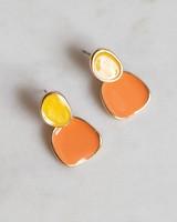 Organic Epoxy & Stone Drop Earrings -  gold-peach