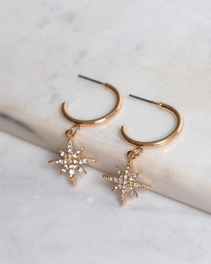 Star Charm Hoop Earrings -  gold