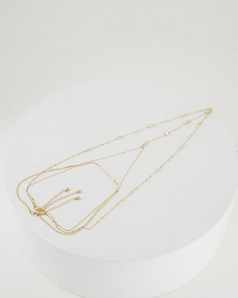 Encrusted Multi-Chain Y-Drop Necklace -  gold