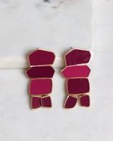 Geometric Resin Drop Earrings -  gold-red