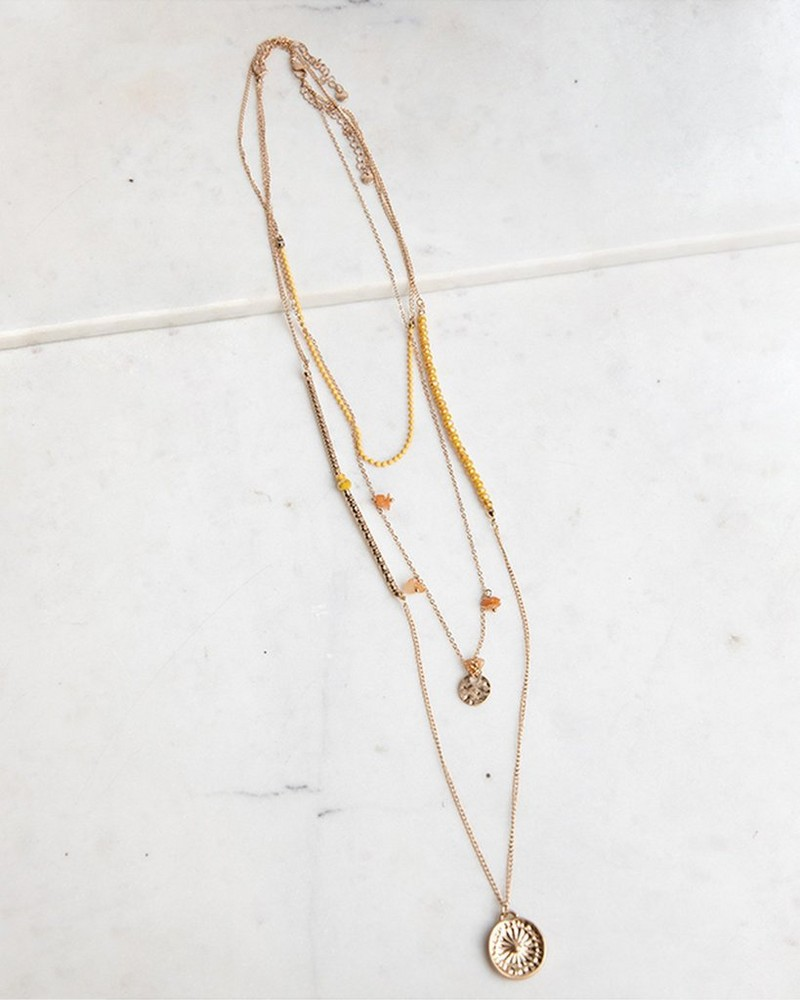 Multi-Layer Beaded Necklace with Coins -  gold-yellow