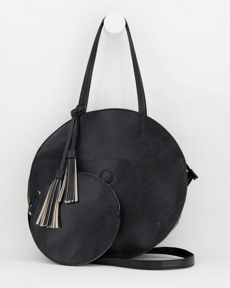 Angelina Vegan Leather Round Bag -  black