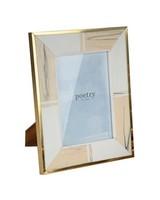 Large White Marbled Resin with Brass Border Frame  -  white-gold