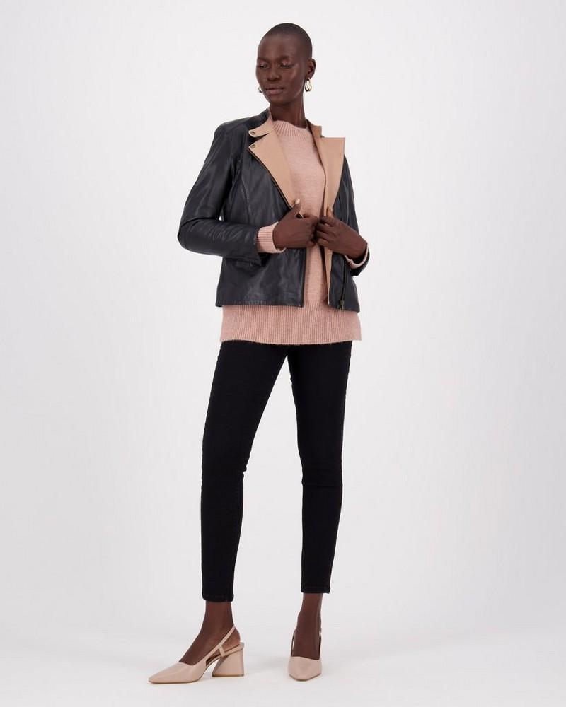 Jenna Leather Jacket -  black