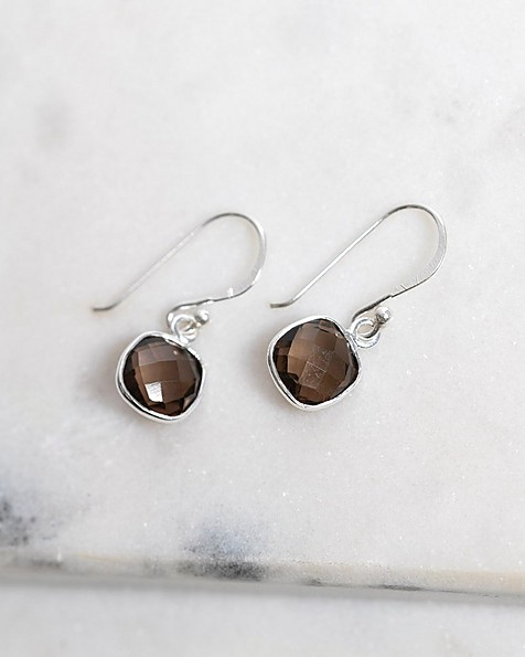 Silver & Smokey Quartz Cushion Drop Earrings -  silver-charcoal