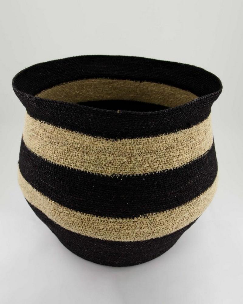 Black & Natural Fine Weave Basket -  oatmeal-black