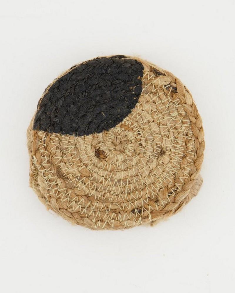Natural-Black Jute coaster S-4 -  oatmeal-black