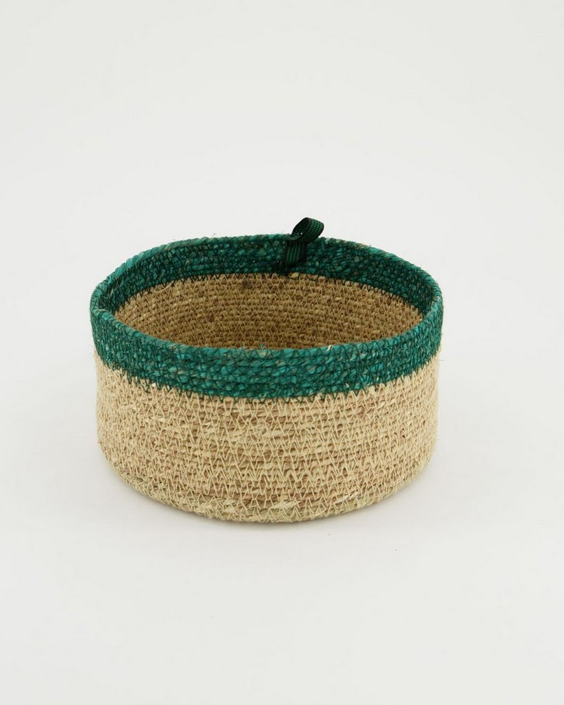 Natural & Teal Seagrass Basket -  oatmeal-teal