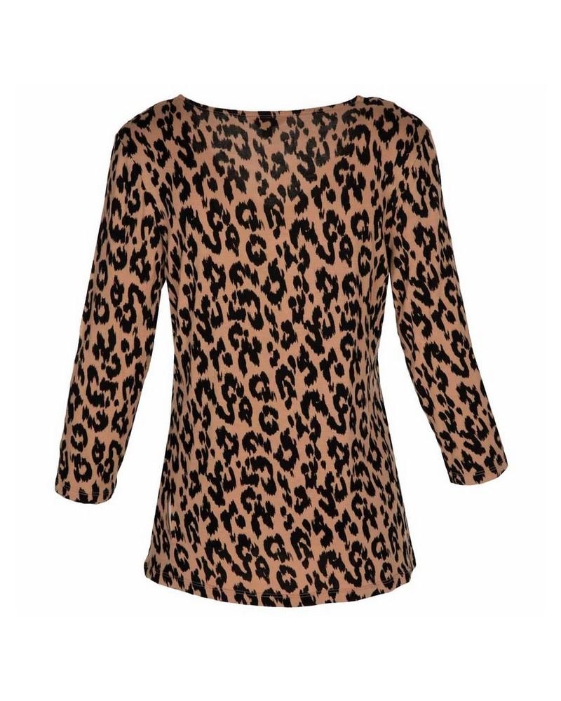 Abella Leopard Print T-Shirt -  stone