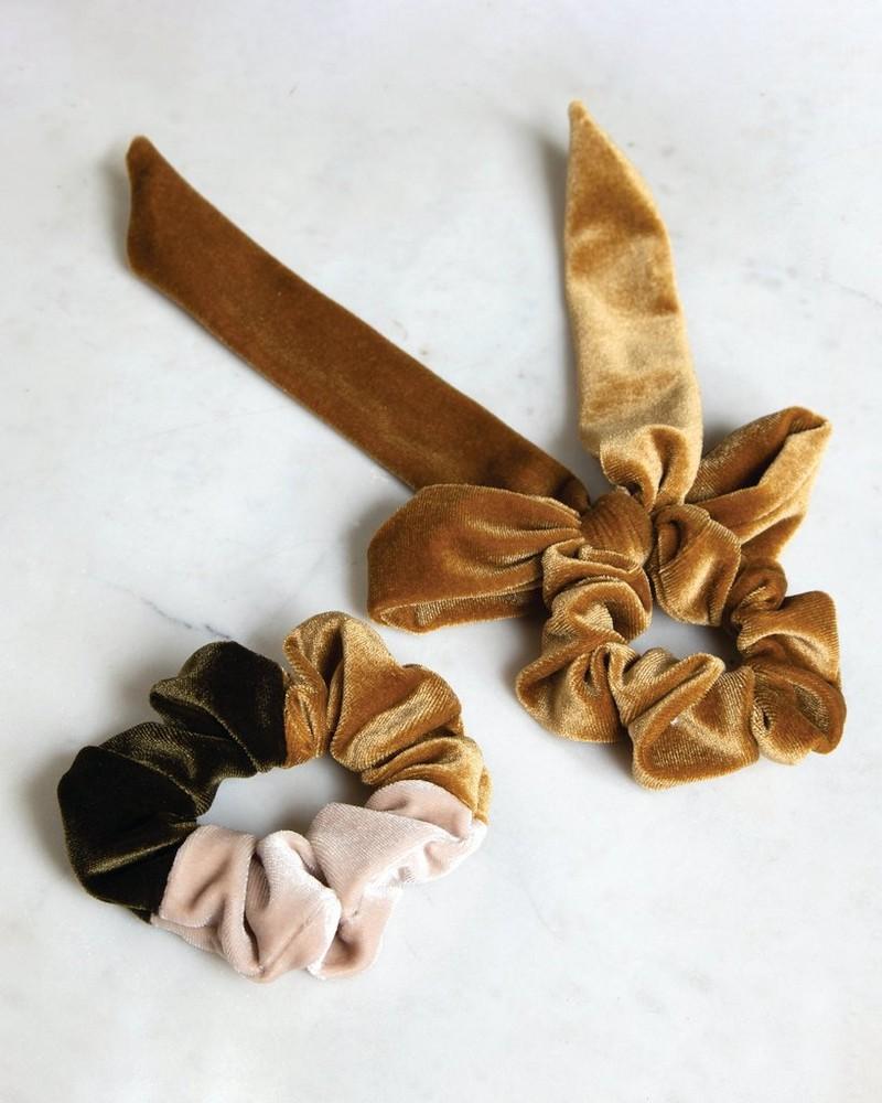 2-Pack Velvet Scrunchie Set -  yellow