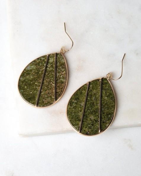 Stone Inset Leaf Earrings -  gold-green