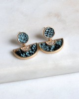 Snake Inset Geometric Earrings -  gold-teal