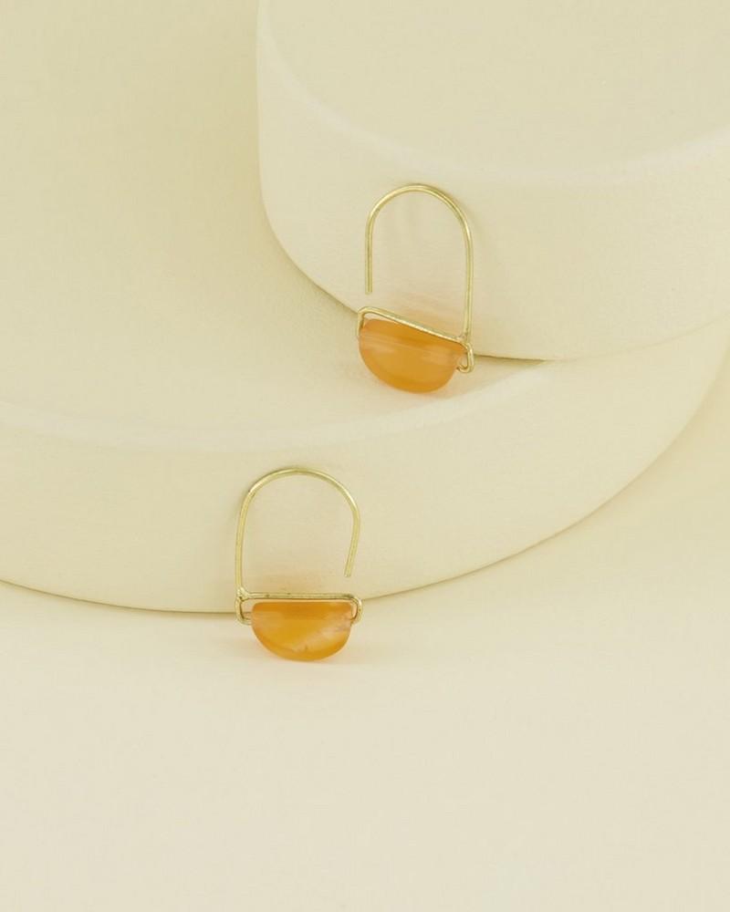 Stone Wedge Mini Hoop Earrings -  gold-peach