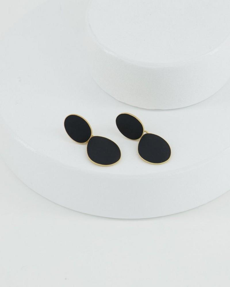 Detail Drop Earrings -  gold-black