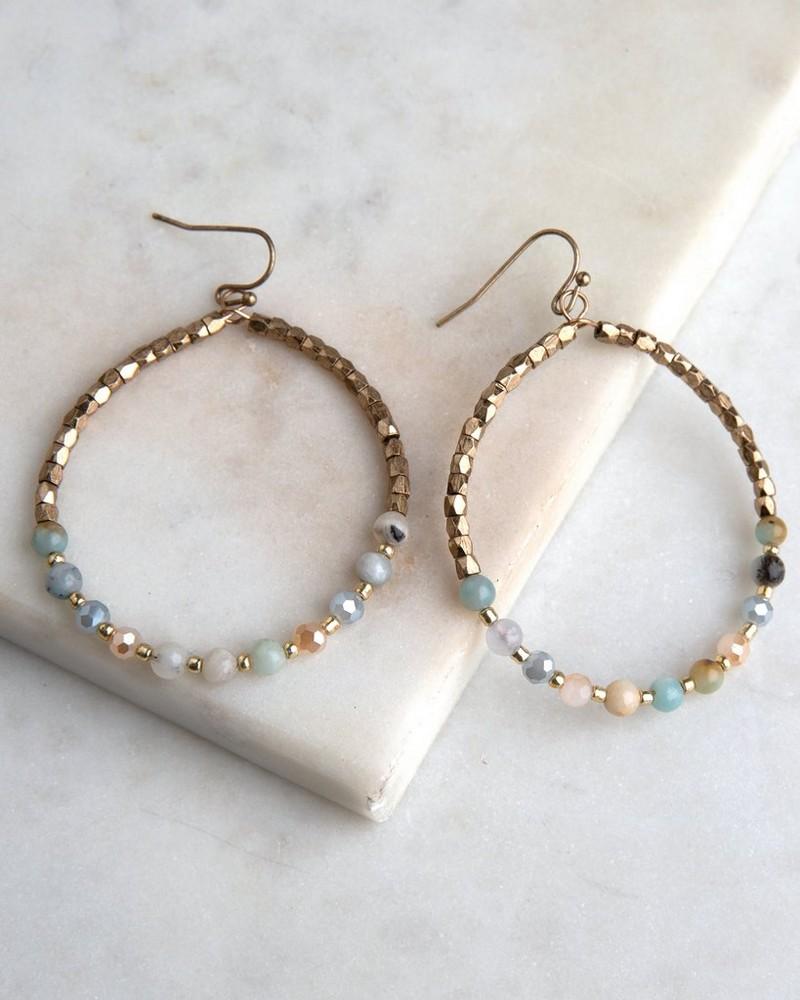 Bead & Stone Hoop Earrings -  gold-green