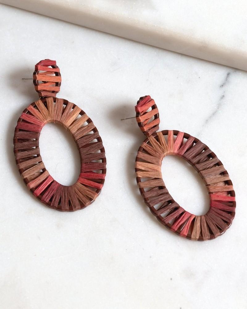 Raffia & Resin Oval Drop Earrings -  rose-green