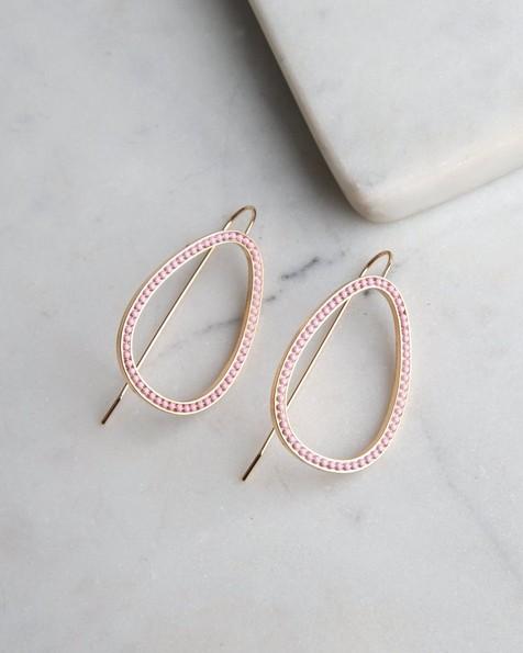 Geometric Drop Chain Earrings  -  gold-rose