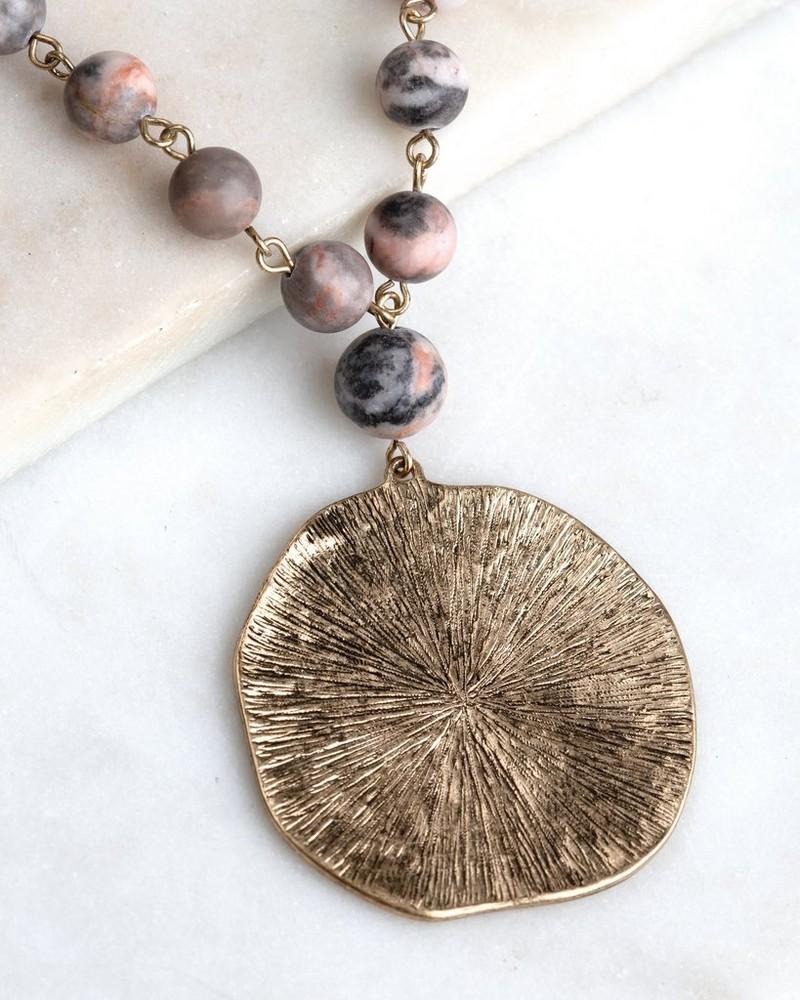 Stone Bead Pendant Necklace -  gold-grey
