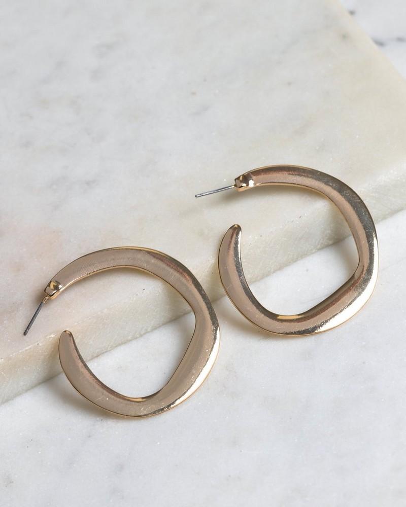 Metal Hoop Earrings -  gold