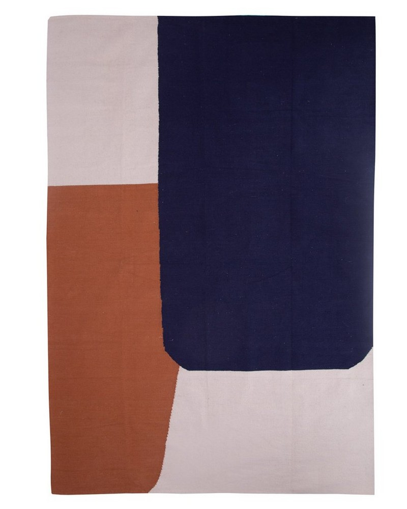 Woven Cotton Abstract Rug  -  assorted