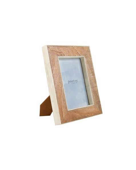 Large Wood & Bone Frame -  brown-white