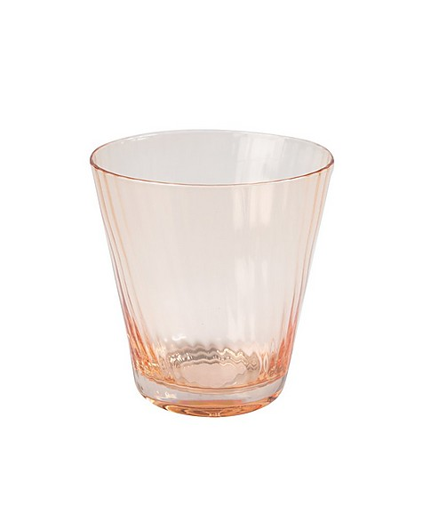 Soft Pink Ribbed Short Glass -  pink