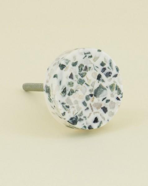 Terrazzo Round Knob -  white-grey