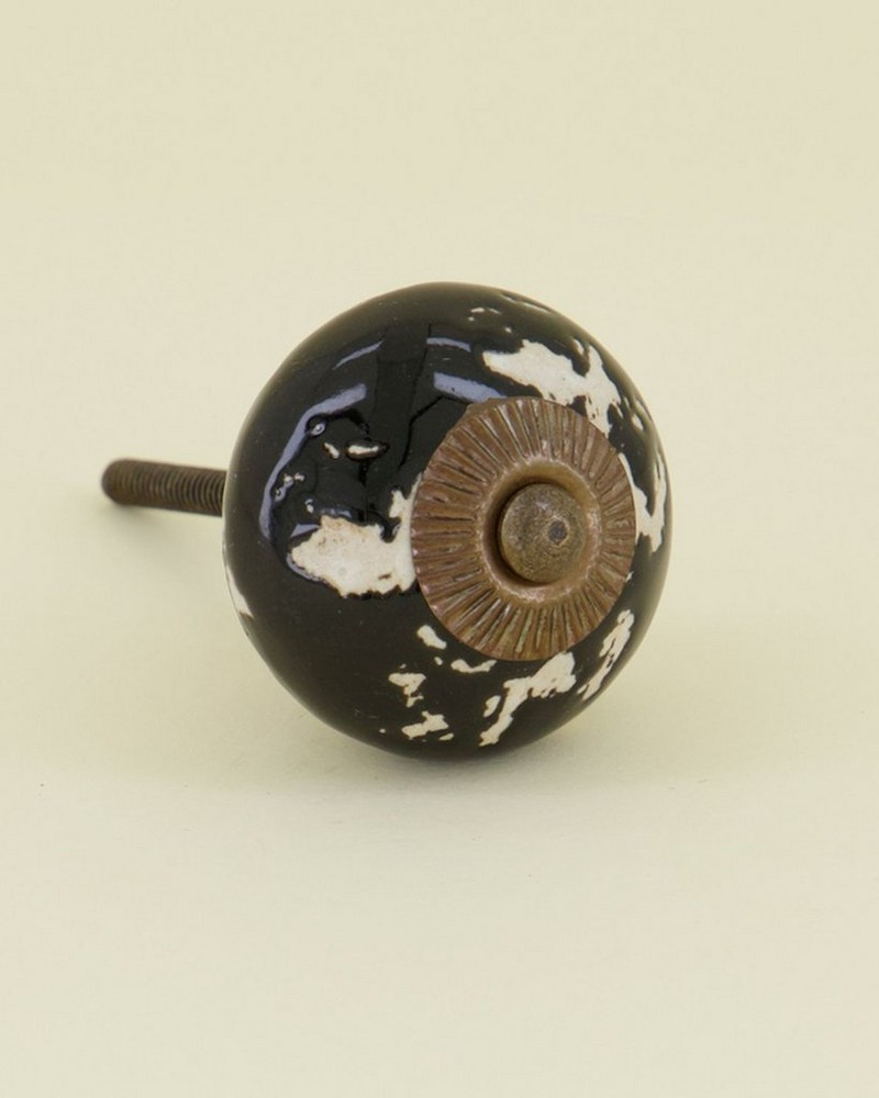 Abstract Black Painted Knob -  black-oatmeal