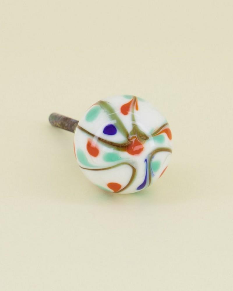 Multi-Colour Glass Knob -  assorted