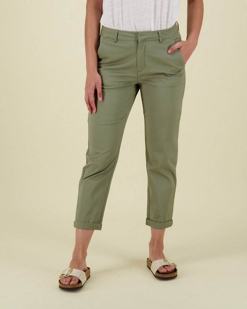 Cora Structured Pants -  olive