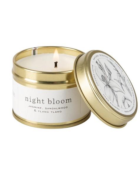 Amanda Jayne Night Bloom Candle in Gold Tin -  white-black