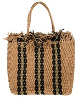 Macy Raffia Rope Shopper Bag -  oatmeal-green