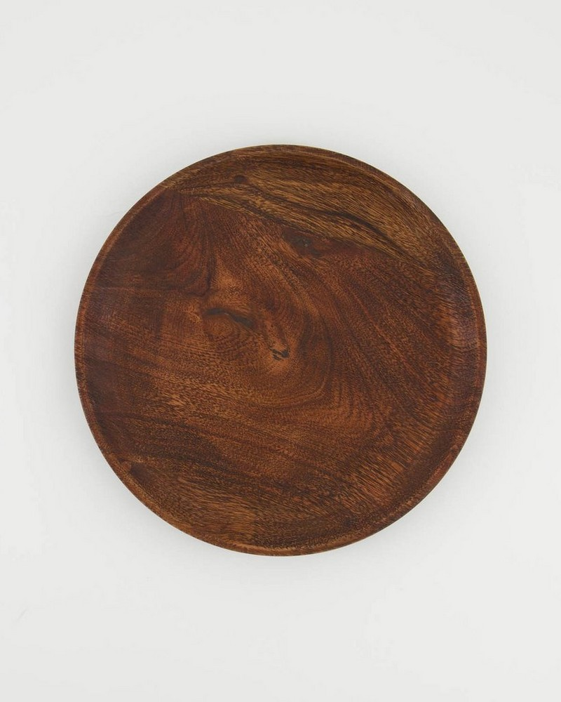 Mid Wash Wooden Plate -  brown