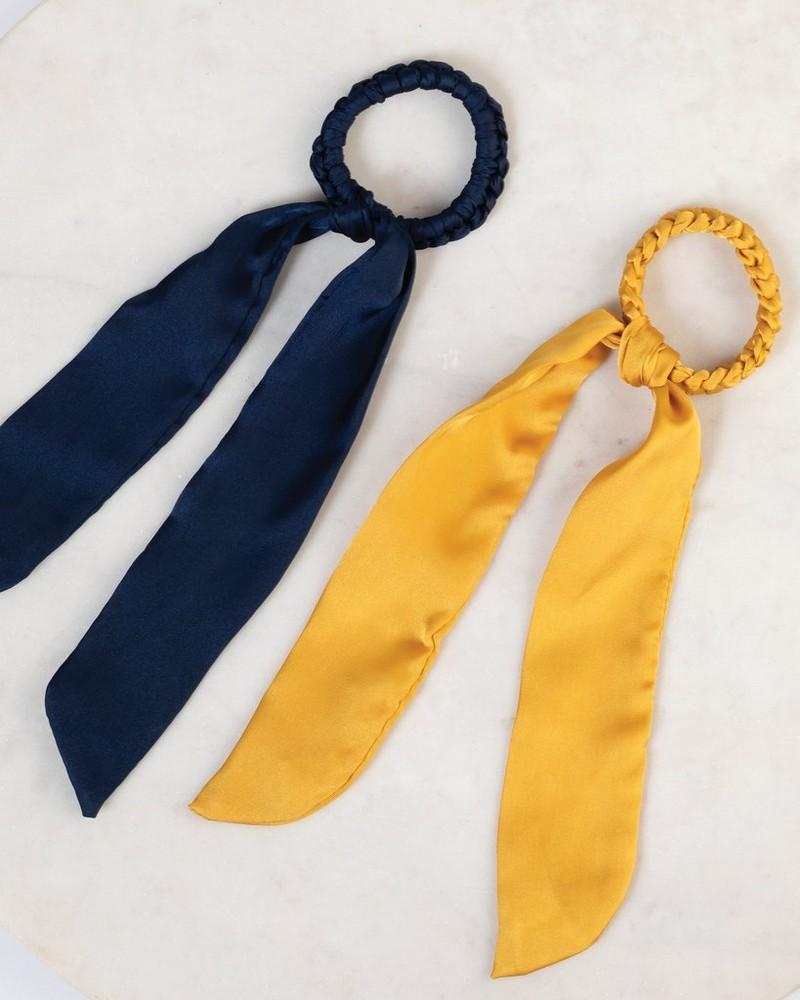 2-Pack Paleza Plaited Hair Tie Set -  yellow-navy
