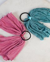 2-Pack Paolia Pleated Hair Tie Set -  pink-teal