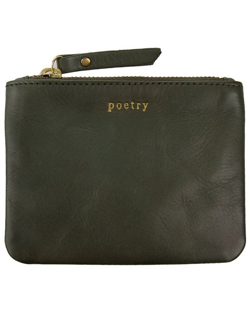 Moira Small Leather Pouch -  sage