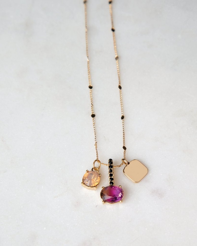 Multi-stone Charm Pendant Necklace -  brown-gold