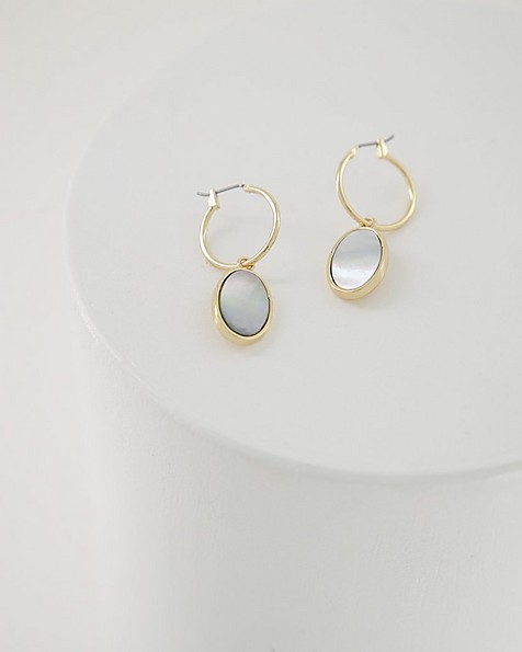 Oval Shell Hoop Drop Earrings -  charcoal-gold