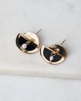 Overlapping Halfmoon Epoxy & Metal Earrings -  black-gold