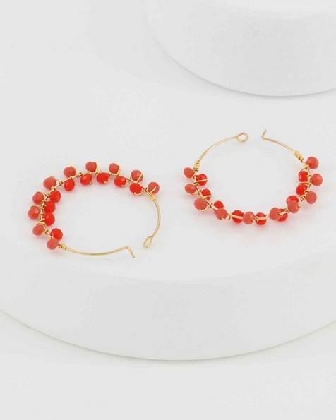 Cluster Bead Hoop Earrings -  coral